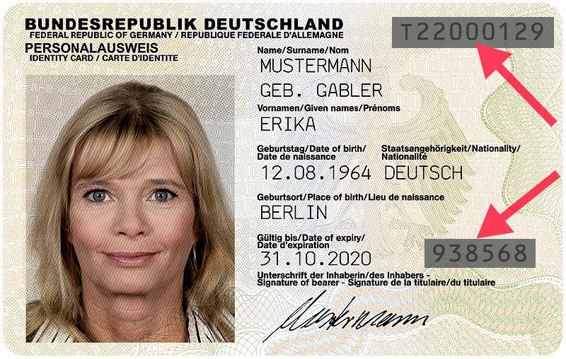 Sample of the German identity card, front